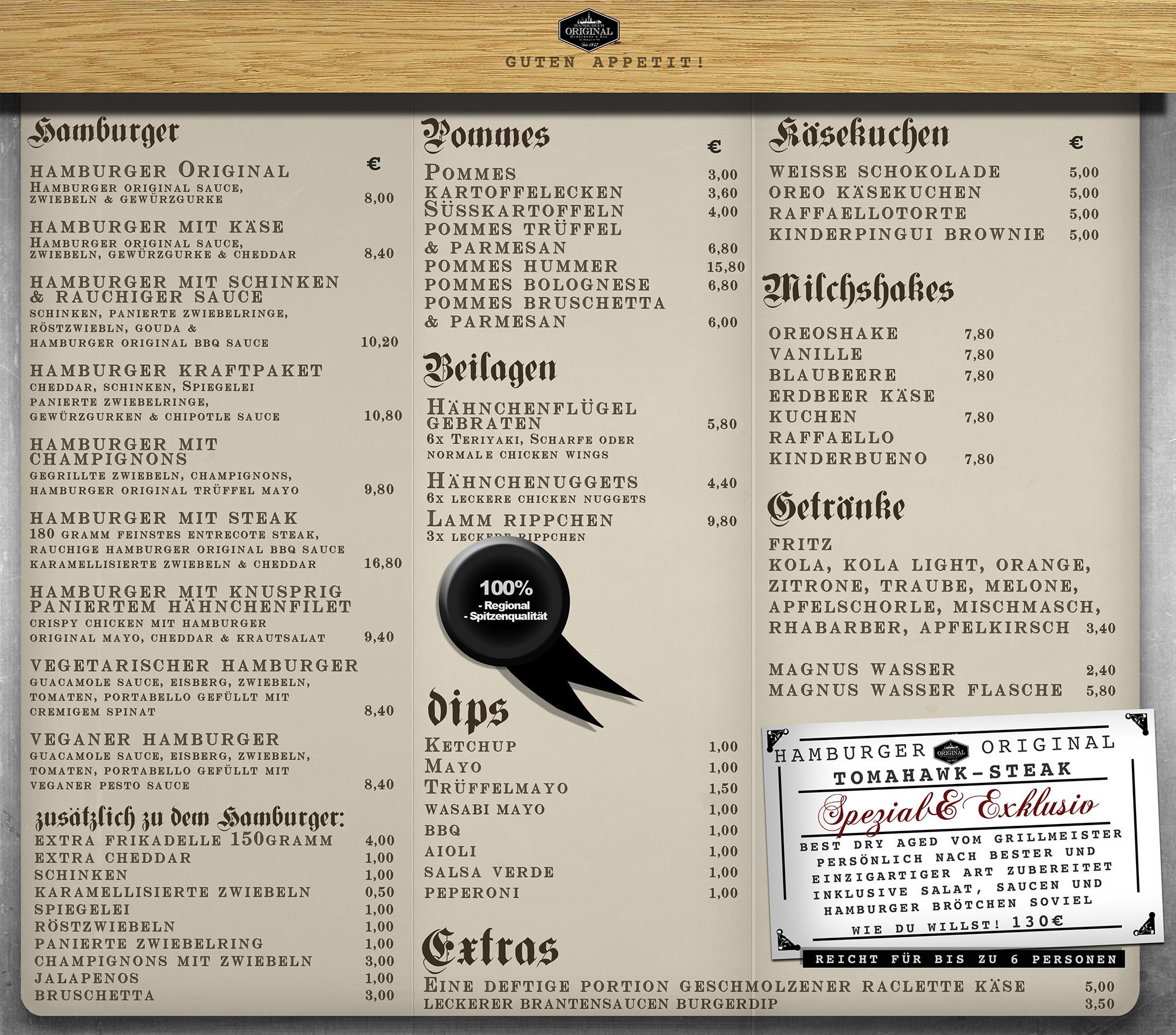 Hamburger Original - Burger und Bar - Norderstedt- Speisekarte - Menü